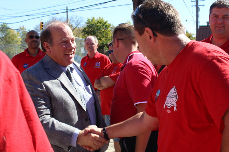 Duggan at an event announcing support from the firefighters union.