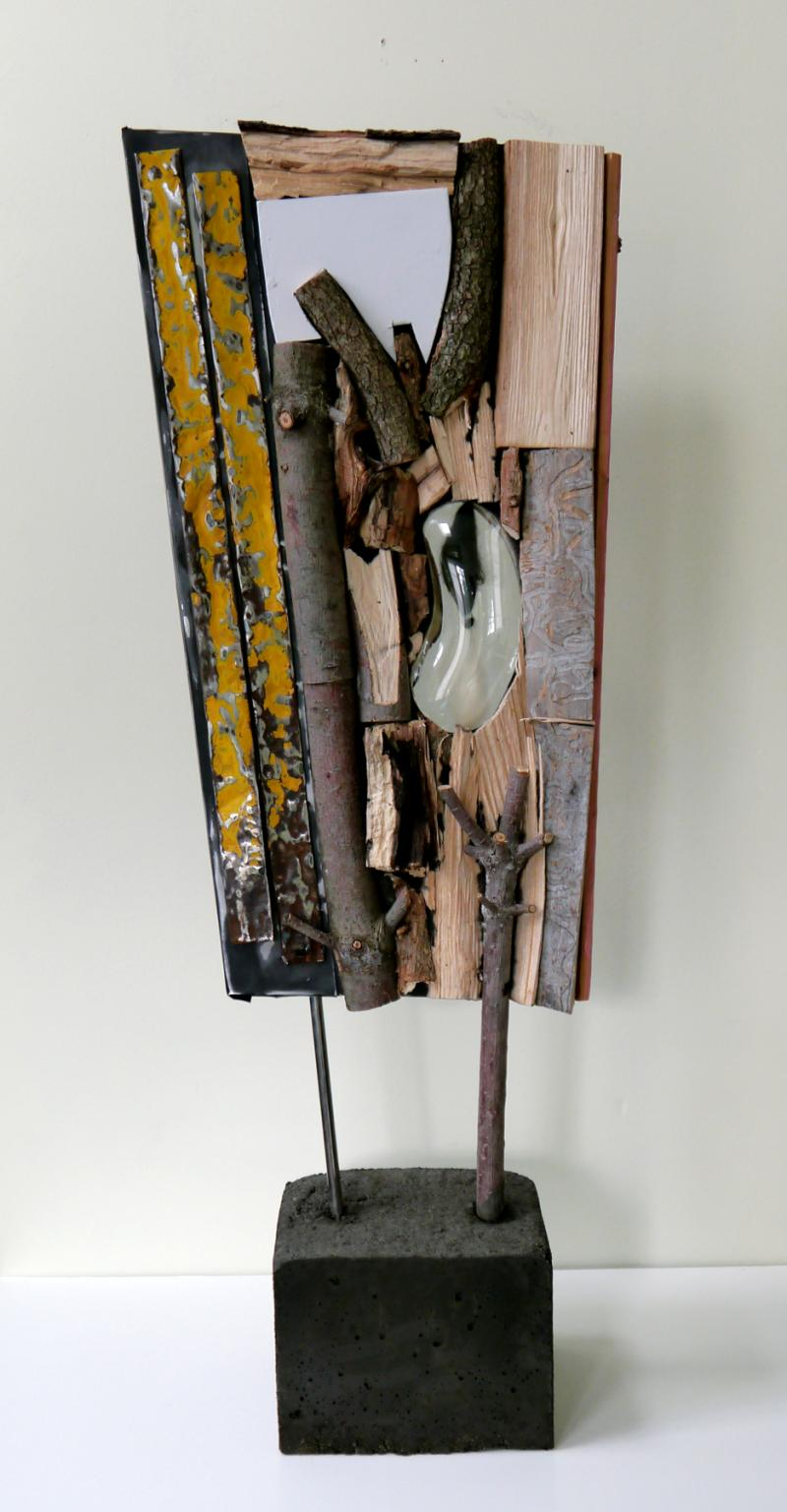 "Dave Fischer's ""Metal and Wood Border"" sculpture"