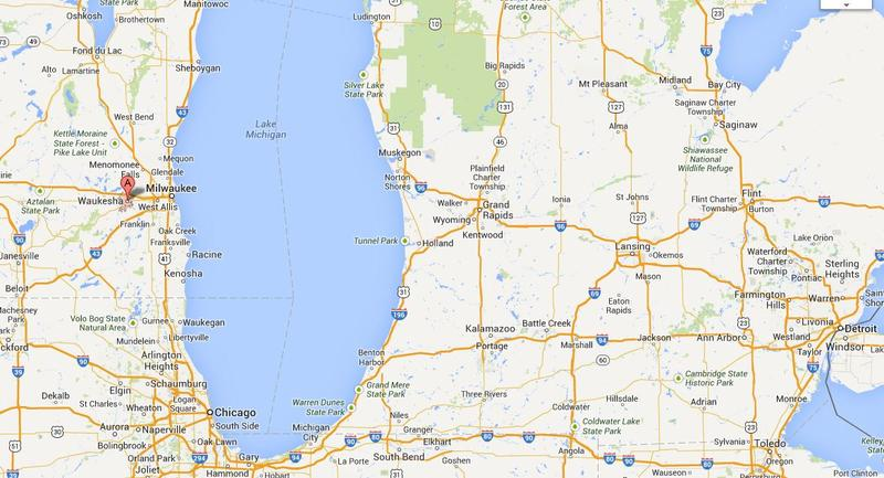 Map showing the location of Waukesha, WI.