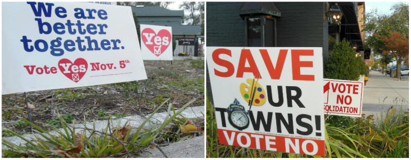 Signs for and against the proposed merger are seen all over Saugatuck and Douglas.