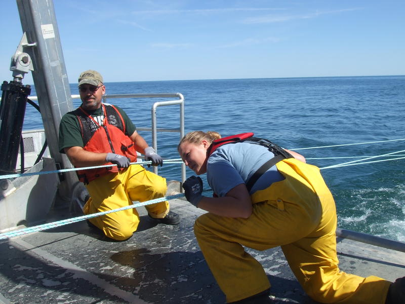 Researchers pulling in a trawl net on the USGS Muskie.
