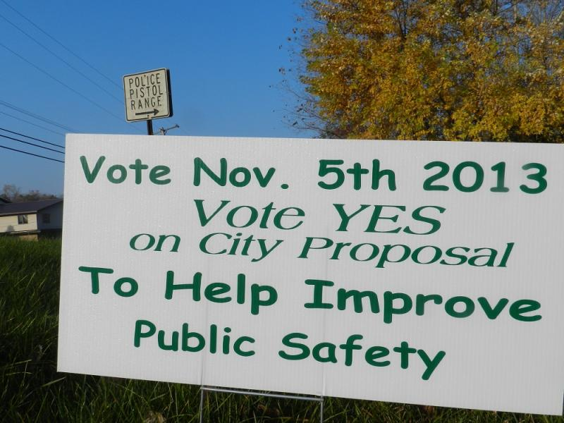 A campaign sign for Jackson's marijuana decriminalization ballot question