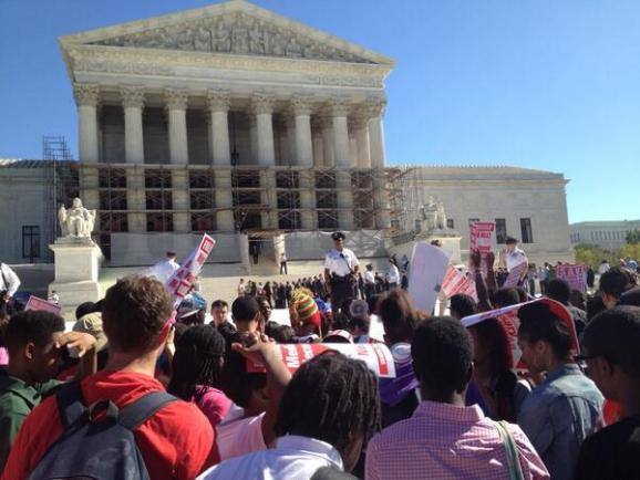 Crowds gather in front of the U.S. Supreme Court yesterday..