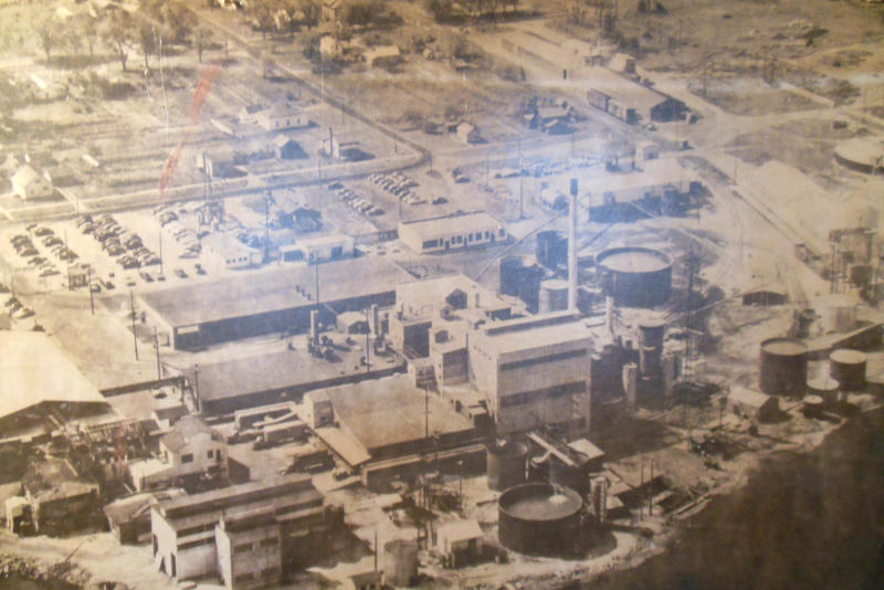 A photograph of the former Velsicol Chemical Plant at the St. Louis Historical Society.