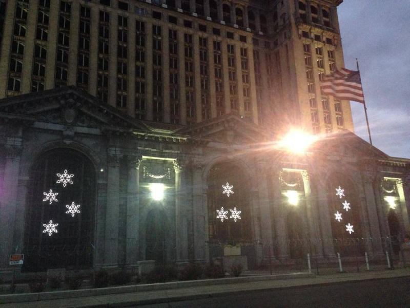 Snowflake lights brighten up the Michigan Central Depot in Detroit.