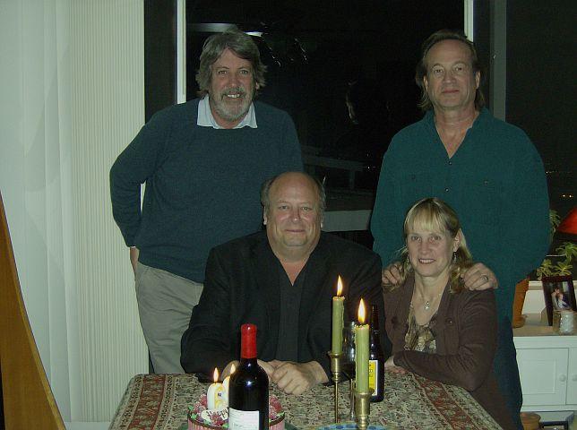 Producer, David Hentschel (left), singer, Chris Flynn (right), harpist, Shishonee Flynn, and drummer Dan Flynn.