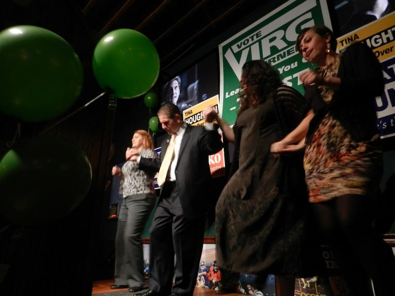 Lansing Mayor Virg Bernero, and his city council allies, celebrate with a victory dance after Tuesday's election