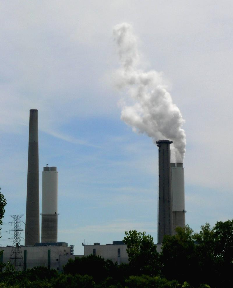 Smokestacks at a coal-burning power plant