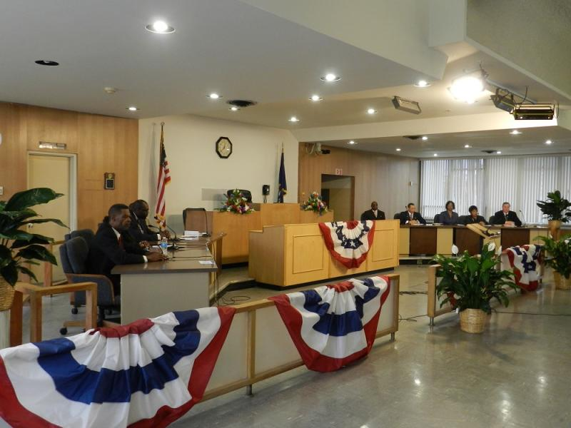 Flint's nine city council members attending their swearing in ceremony earlier this month