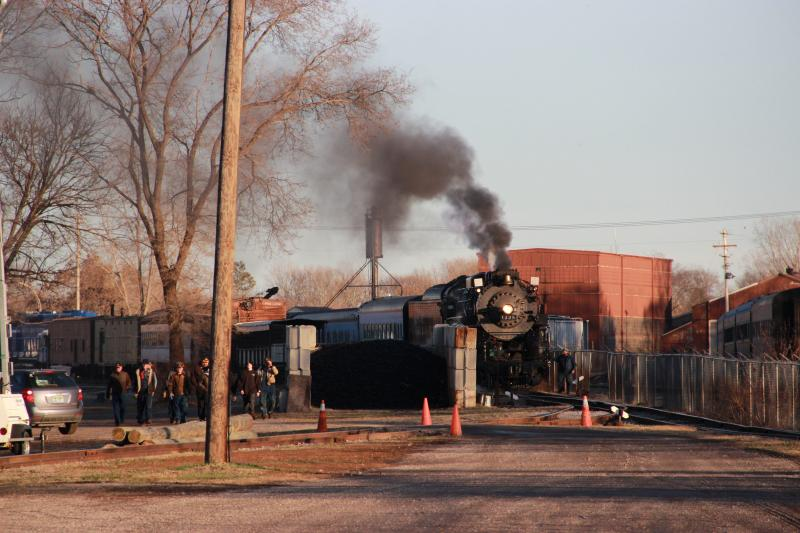The Pere Marquette 1225 rolls into view in Owosso