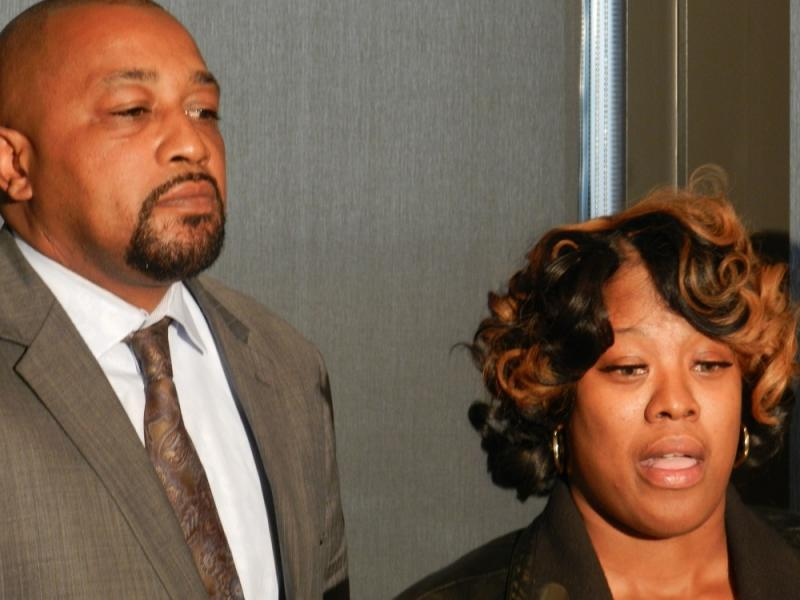 Renisha McBride's parents, Walter Simmons and Monica McBride speak at a press conference today.