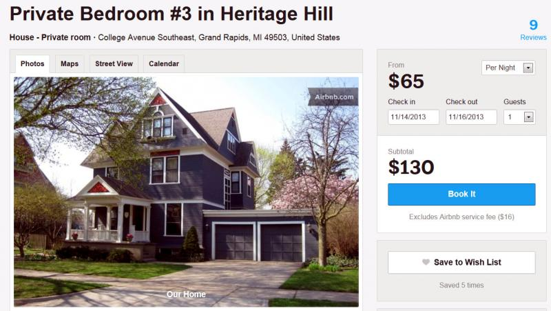 The Coys offer guest rooms in their Heritage Hill home near downtown Grand Rapids for rent on airbnb.com.
