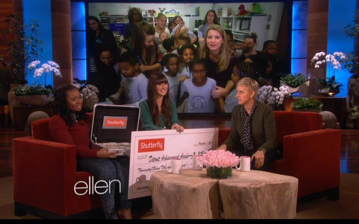 Teacher Danielle Johnson and Detroit Achievement Academy founder Kyle Smitley on the Ellen Degeneres show.