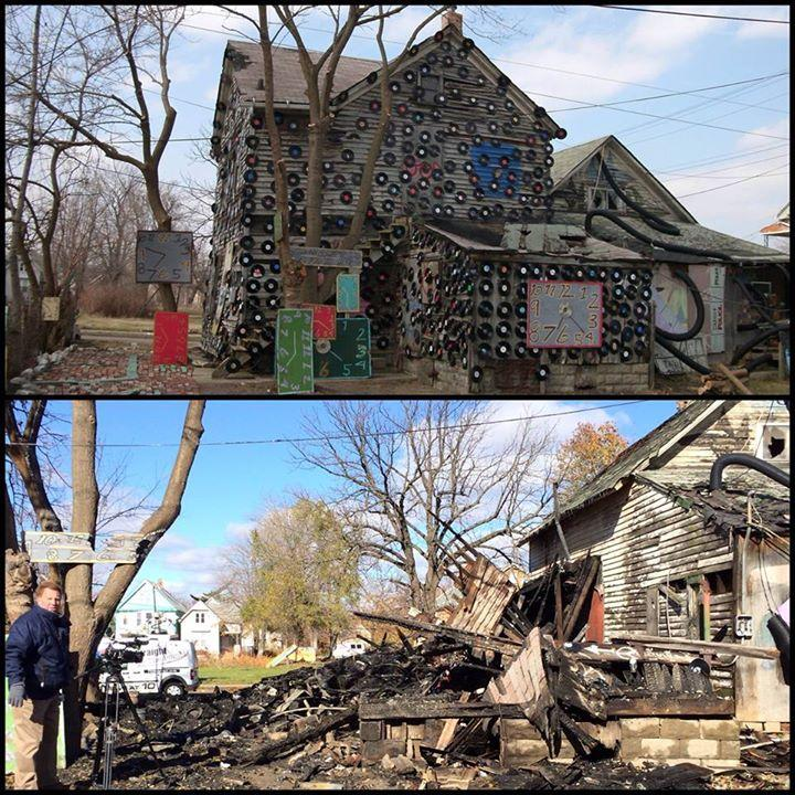 Before and after of the Soul House, which burned November 12, 2013.