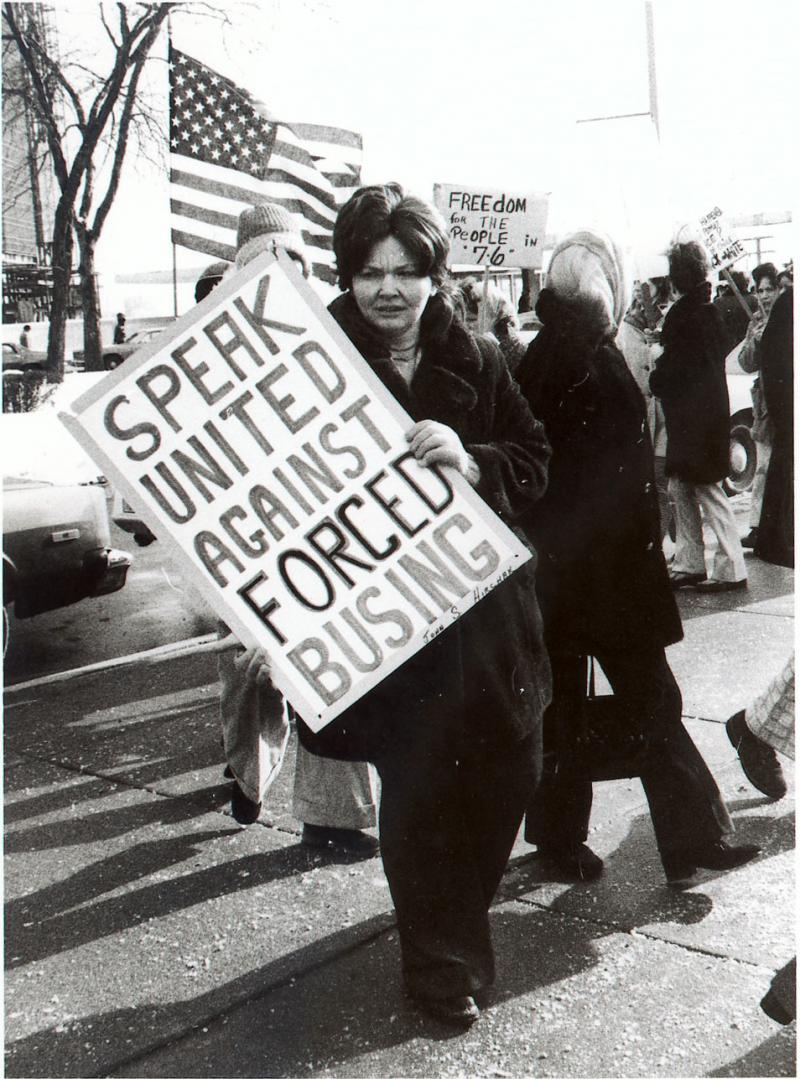 Anti-busing demonstration in Detroit in 1976.