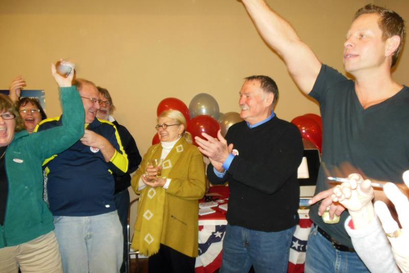About fifty people at a gathering in Douglas celebrated after learning the results of the election Tuesday night.