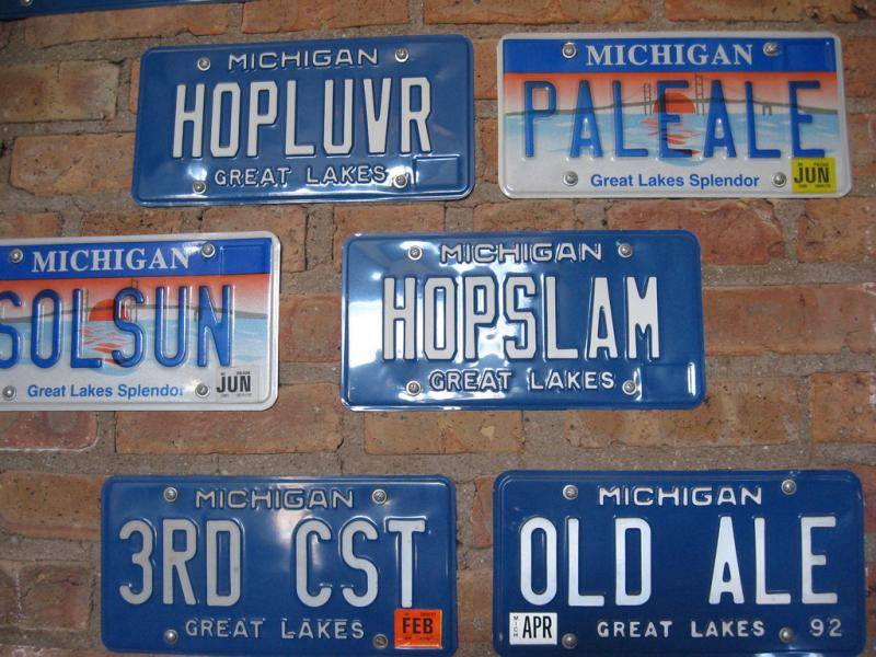 Personalized license plates on the wall of Bell's Brewery in Kalamazoo.