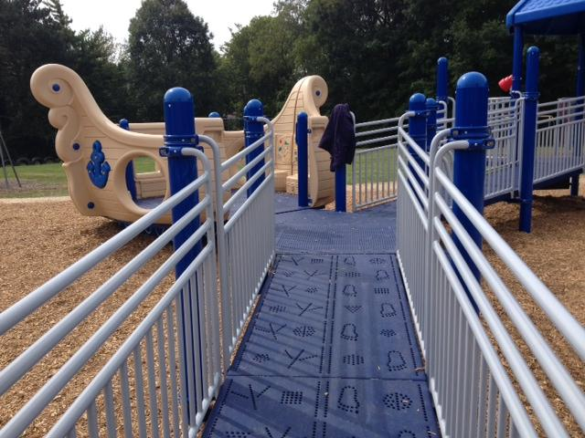 Haisley's new playground includes ramps for kids in wheelchairs.