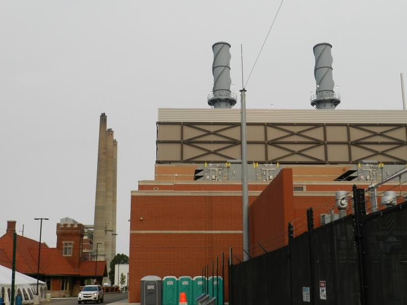 The Lansing Board of Water & Light's new co-generation plant in the foreground.  The smokestacks in the background are BWL's older power station.