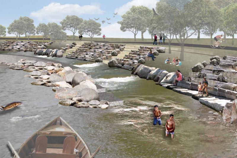 A rendering of what the river restoration project could look like.