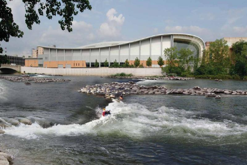 A rendering of what the river restoration project could look like (view from in front of the Gerald R. Ford Museum).