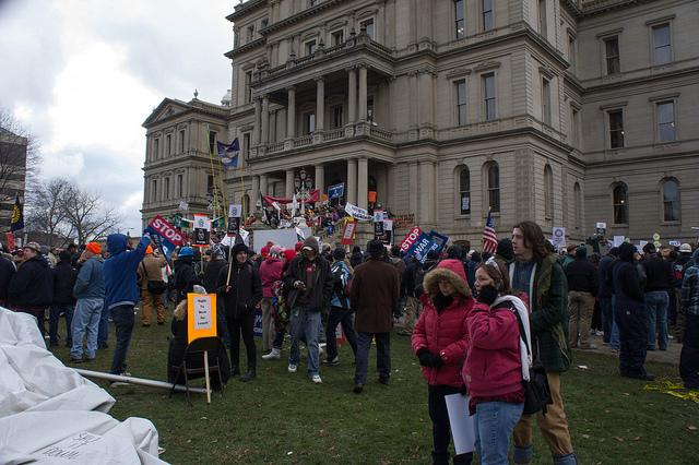Right-to-work protestors outside the State Capitol last December.