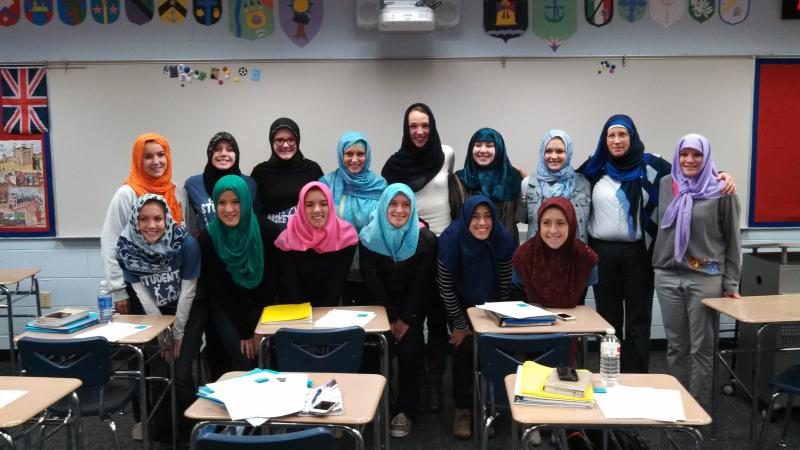 Students at Brighton High School chose to wear hijabs for a full school day