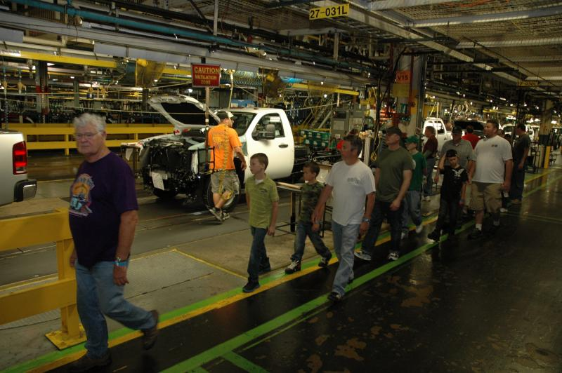 On a tour of GM's Flint Assembly Plant.