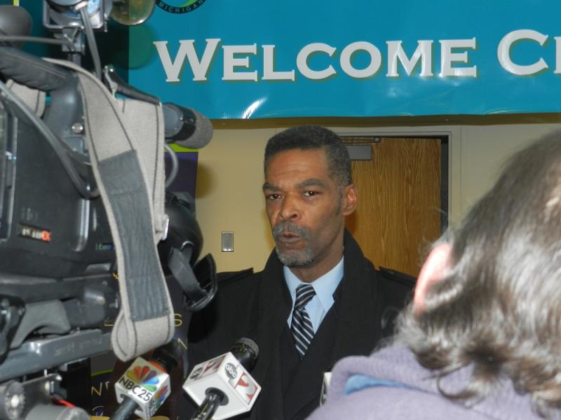 Flint city councilman Eric Mays talks to reporters minutes after the city's emergency manager asked for his resignation