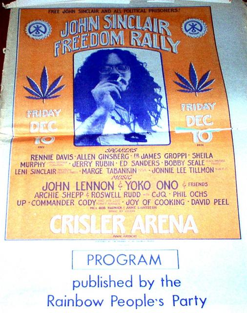 A program from the John Sinclair Freedom Rally at Crisler Arena on December 10, 1971.