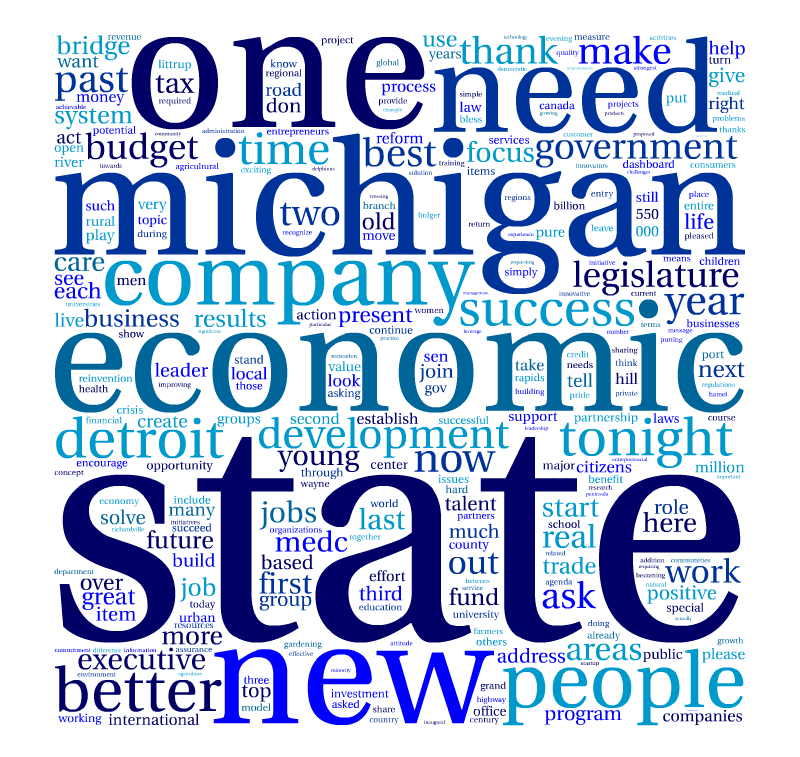 A word cloud of Gov. Rick Snyder's most frequently used words in his 2011 State of the State address.