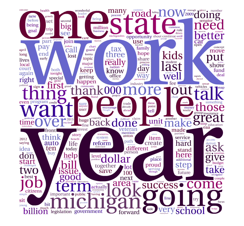 Snyder's most used words in his 2013 address.