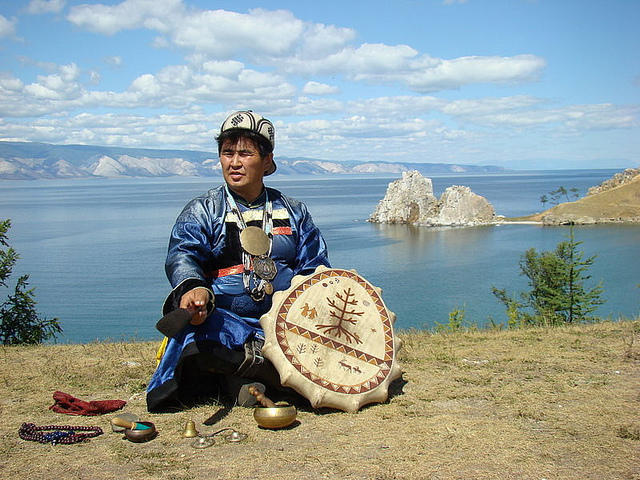 This is a shaman. Altai shamans have a ritual to encourage snowfall, which the Sochi Organizing Committee is using.