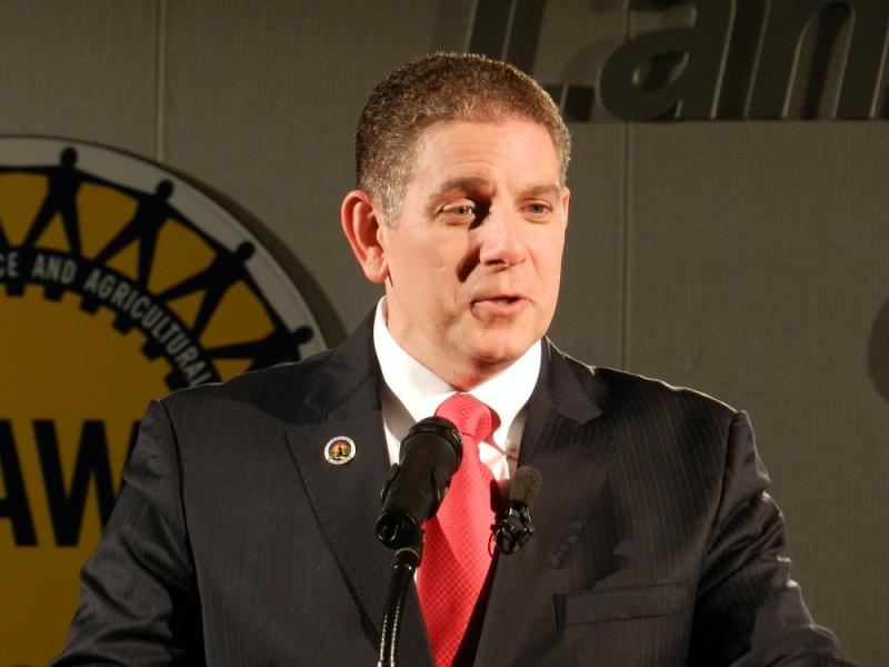 """Right now, the state of Michigan has a $1 billion surplus.   I have an idea. Let's put people back to work by investing some of that money in our crumbling roads,"" says Lansing Mayor Virg Bernero"