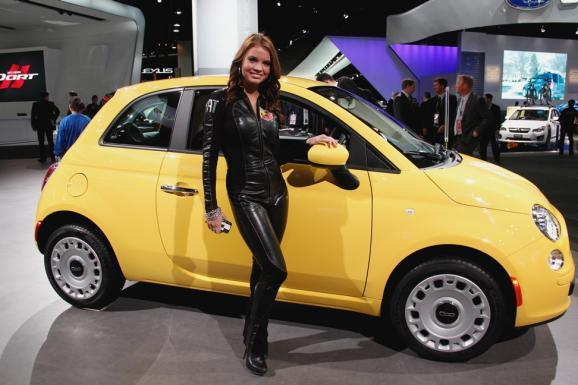 A Fiat product specialist at the auto show