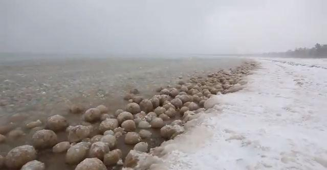 Ice balls fill the shores of Lake Michigan in Glen Arbor, Mich.