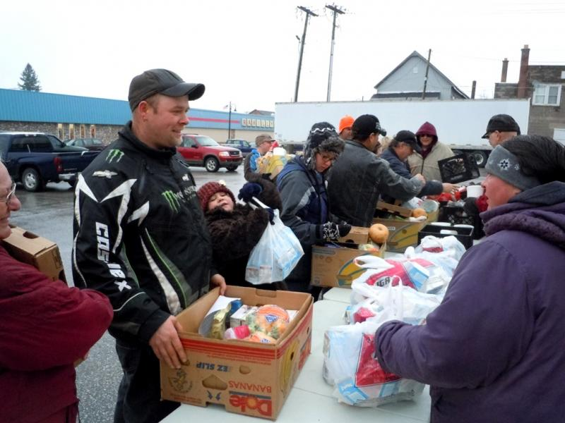 Food is distributed in Newberry in November 2013.