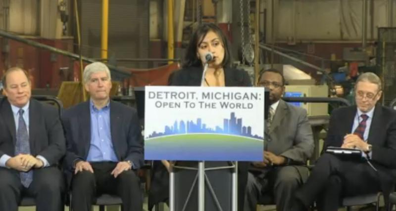 "Detroit's first Latina council member, Raquel-Castaneda-Lopez, speaks at a press event earlier this year announcing Michigan's intention to establish an ""EB-5 regional center."""