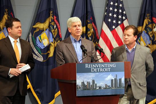 Gov. Snyder flanked by Bolger (right) and Richardville (left) making the announcement.