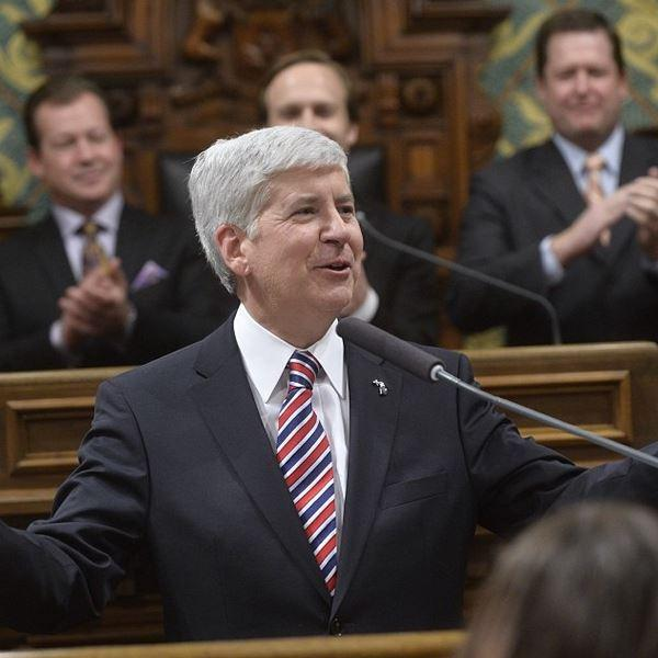 Gov. Rick Snyder delivering his 2014 State of the State address.