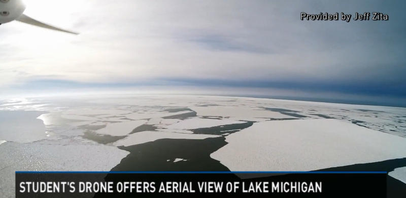 Ice sheets on Lake Michigan shot with a drone.