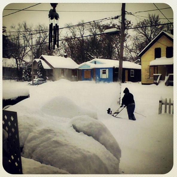 Digging out of the record-breaking snow in Flint.