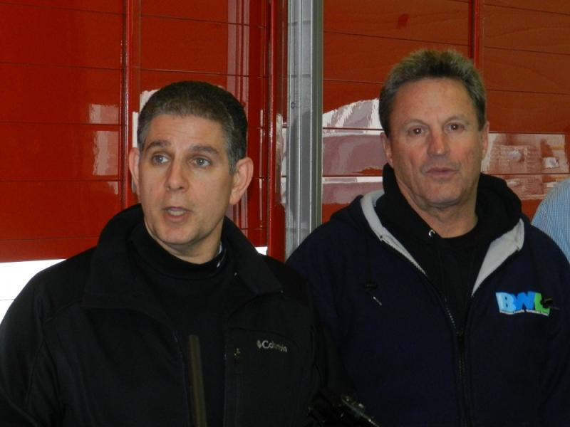 BWL GM J. Peter Lark (right) has come under fire for the utility's handling of the ice storm power outages.  He's see here with Lansing Mayor Virg Bernero at a news conference on the first day of the outage.