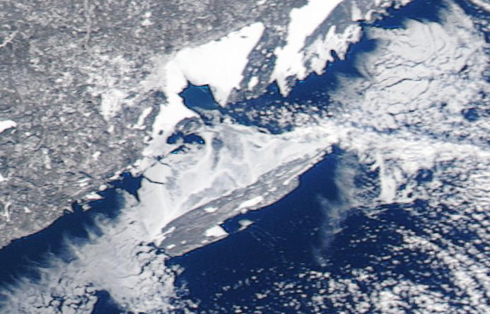 The ice on Jan. 8, 2014. No ice bridge yet, according to researchers.