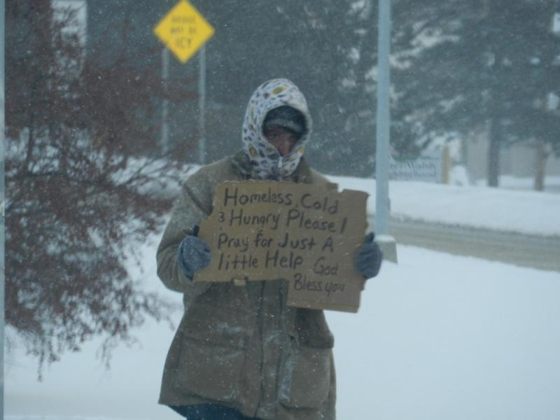 A man asks for help in Lansing, Michigan.