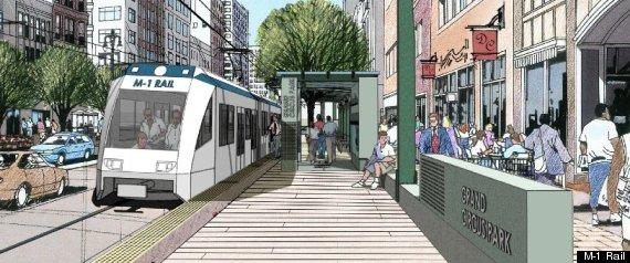Artist's conception of proposed Woodward Avenue light rail line