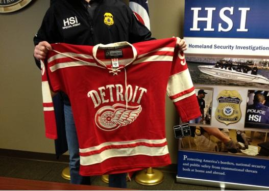 This is one of the counterfeit NHL jerseys that crooks tried to sell during the lead up to the NHL's Winter Classic in Ann Arbor on New Year's Day