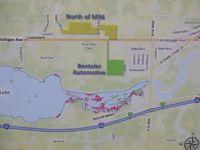 The pink areas in the Morrow Lake delta are where dredging needs to be completed. The two proposed locations for dredge pads are also highlighted.
