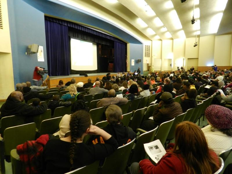 Hundreds of parents, students and teachers have attended public meetings (including this one at Arthur Hill High School) on the Saginaw school district's deficit elimination plan.