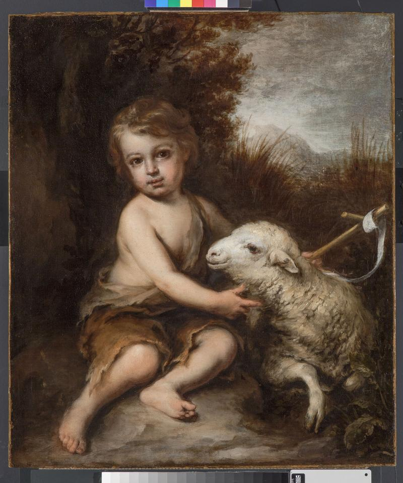 """The Infant Saint John the Baptist in the Wilderness,"" post-conservation treatment."